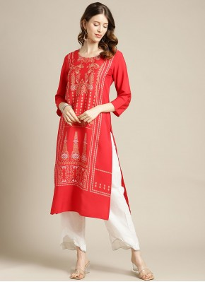Blended Cotton Red Print Party Wear Kurti