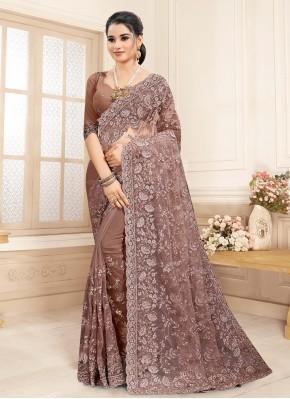 Blissful Brown Resham Net Classic Saree