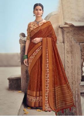 Blissful Cotton Silk Rust Printed Saree