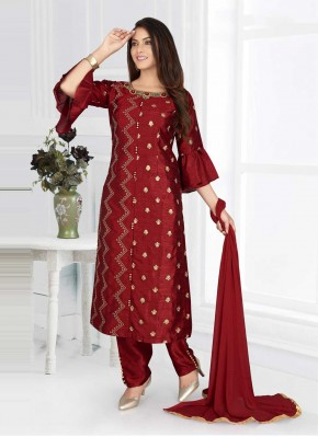 Blissful Maroon Embroidered Poly Silk Readymade Suit