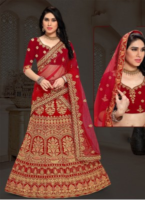 Blissful Maroon Velvet Designer Lehenga Choli