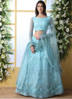 Blissful Net Embroidered Blue Lehenga Choli