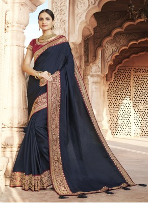 Blissful Patch Border Blue Silk Designer Traditional Saree