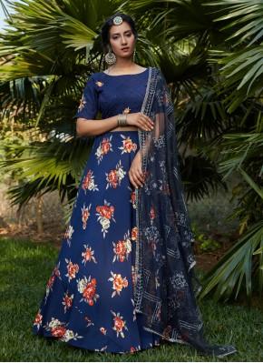 Blissful Printed Blue A Line Lehenga Choli