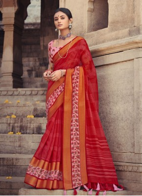 Blissful Red Cotton Silk Printed Saree