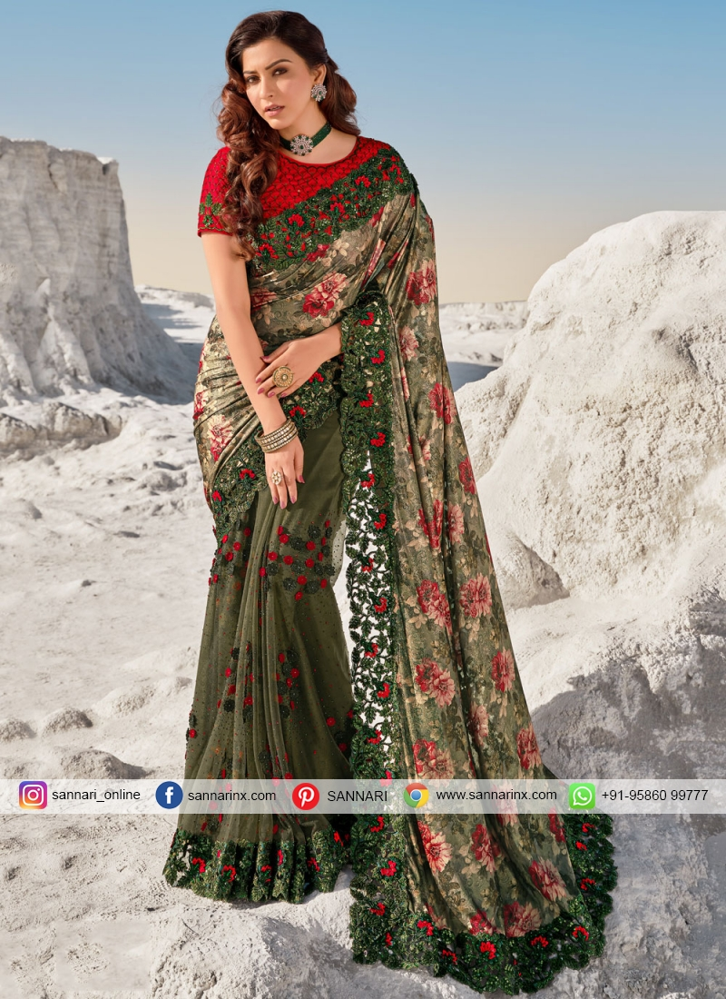 Blooming Net Embroidered Green Bollywood Saree