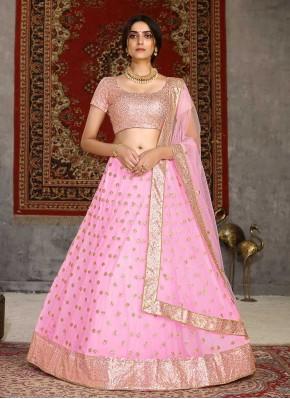 Blooming Net Patch Border Pink Lehenga Choli