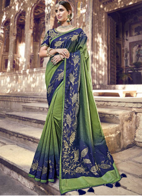 Blue and Green Banarasi Silk Classic Saree