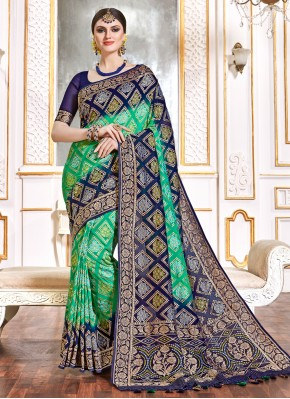 Blue and Green Weaving Reception Bollywood Saree