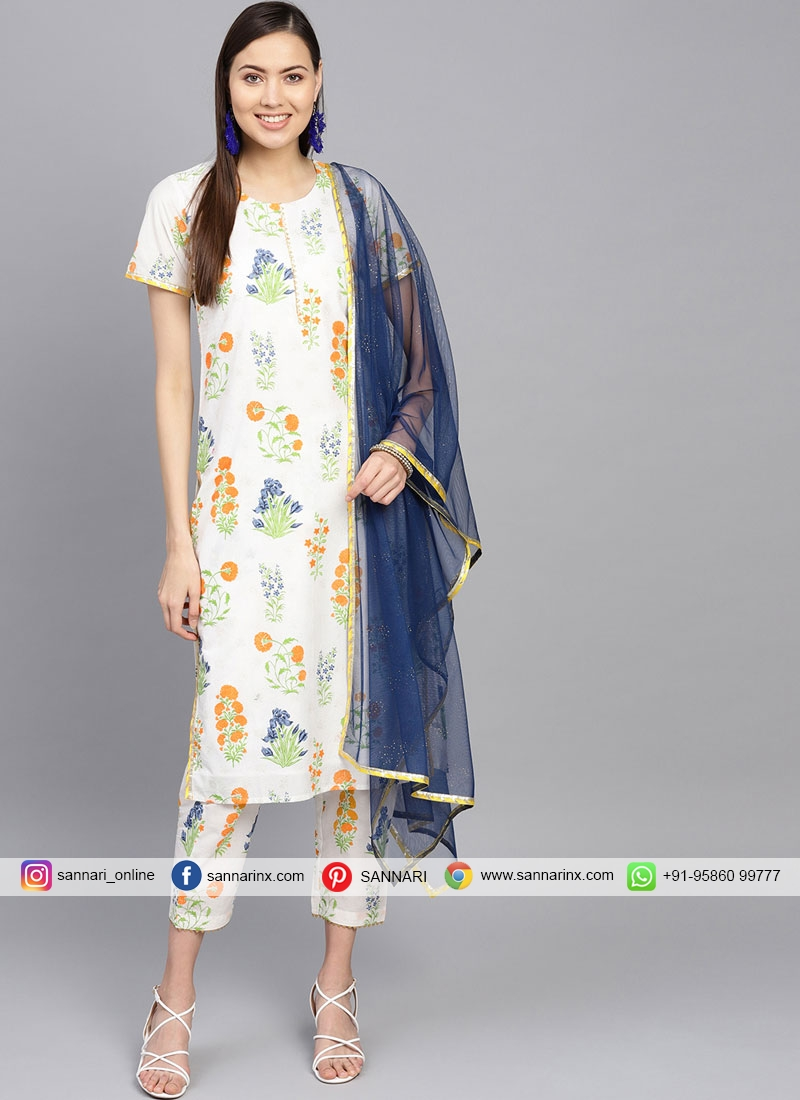 Blue and Off White Color Casual Kurti