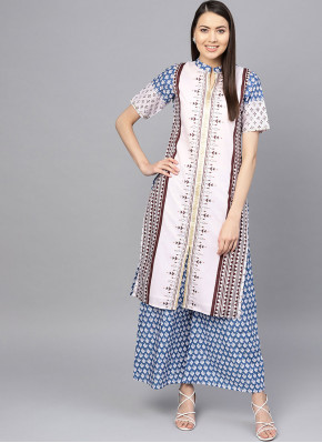 Blue and White Cotton Party Wear Kurti