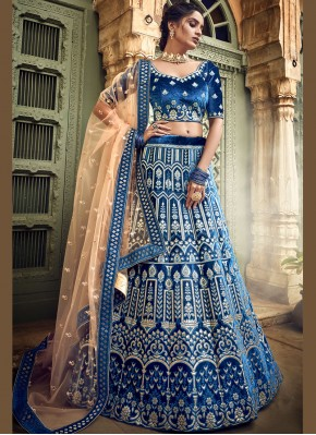 Blue Bridal Designer A Line Lehenga Choli