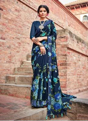 Blue Casual Cotton Printed Saree