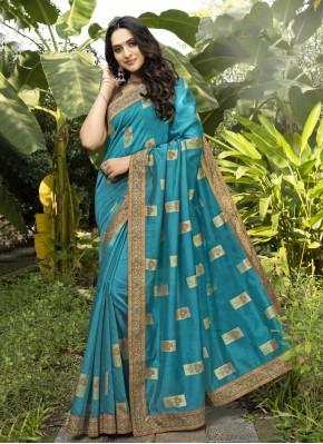 Blue Chanderi Digital Print Designer Traditional Saree