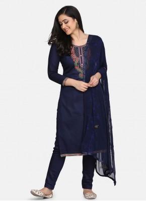 Blue Cotton Festival Designer Suit