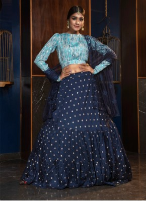 Blue Cotton Printed Lehenga Choli