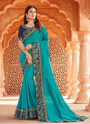 Blue Embroidered Designer Traditional Saree