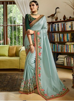 Blue Embroidered Designer Traditional Saree