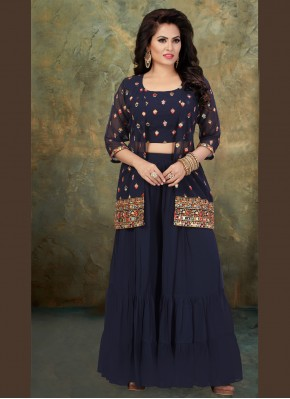 Blue Embroidered Georgette Party Wear Kurti