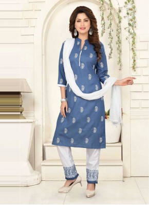 Blue Embroidered Poly Cotton Readymade Suit