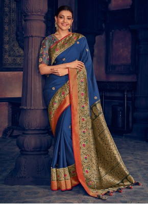 Blue Embroidered Silk Traditional Designer Saree