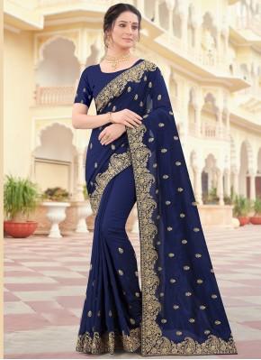 Blue Embroidered Vichitra Silk Traditional Designer Saree