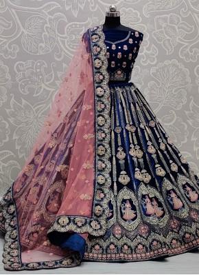 Blue Engagement Velvet Lehenga Choli