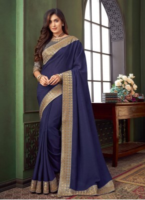 Blue Fancy Fabric Classic Designer Saree