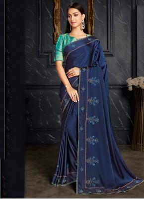 Blue Fancy Fabric Fancy Classic Designer Saree
