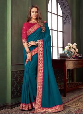 Blue Fancy Fabric Festival Trendy Saree