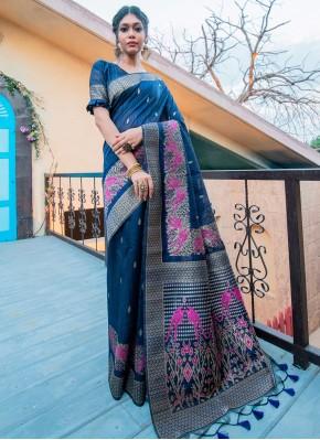 Blue Fancy Festival Traditional Designer Saree