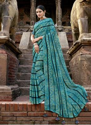 Blue Faux Chiffon Printed Bollywood Saree