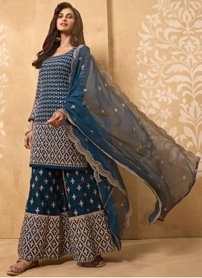 Blue Faux Georgette Designer Palazzo Salwar Kameez