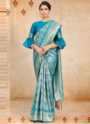 Blue Festival Art Silk Traditional Designer Saree