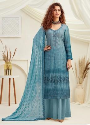Blue Festival Designer Palazzo Suit