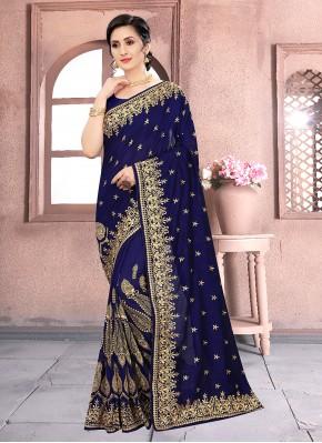 Blue Festival Vichitra Silk Classic Designer Saree