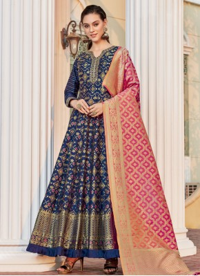 Blue Jacquard Readymade Anarkali Salwar Suit