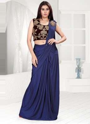 Blue Lycra Classic Designer Saree