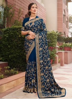 Blue Mehndi Designer Saree