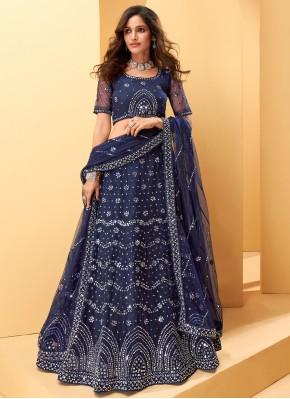 Blue Net Embroidered Lehenga Choli