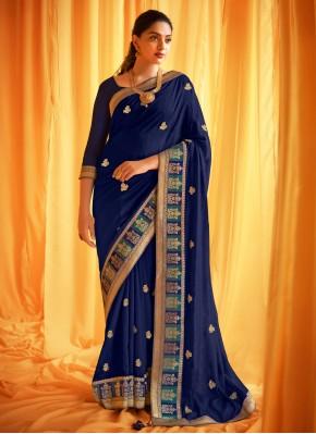 Blue Patch Border Ceremonial Designer Traditional Saree