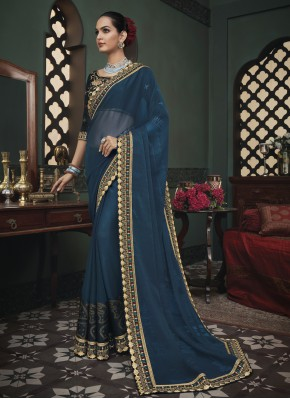 Blue Patch Border Engagement Classic Saree