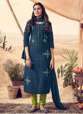 Blue Polly Cotton Resham Readymade Salwar Suit