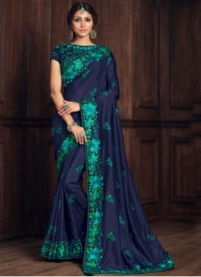 Blue Poly Silk Ceremonial Designer Traditional Saree