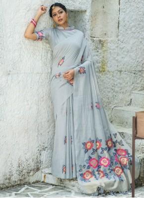 Blue Print Linen Classic Designer Saree
