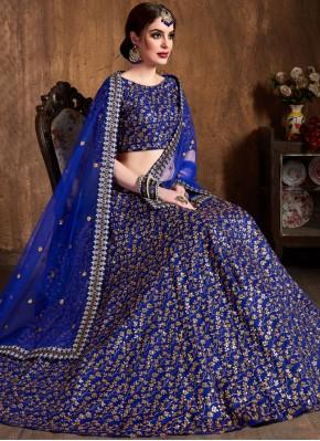 Blue Raw Silk Bridal Lehenga Choli