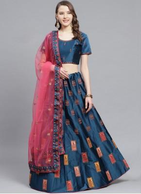 Blue Satin Reception Bollywood Lehenga Choli