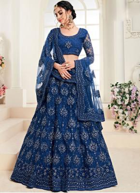 Blue Satin Silk Trendy A Line Lehenga Choli