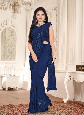 Blue Sequins Classic Designer Saree