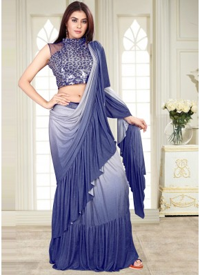 Blue Sequins Shaded Saree
